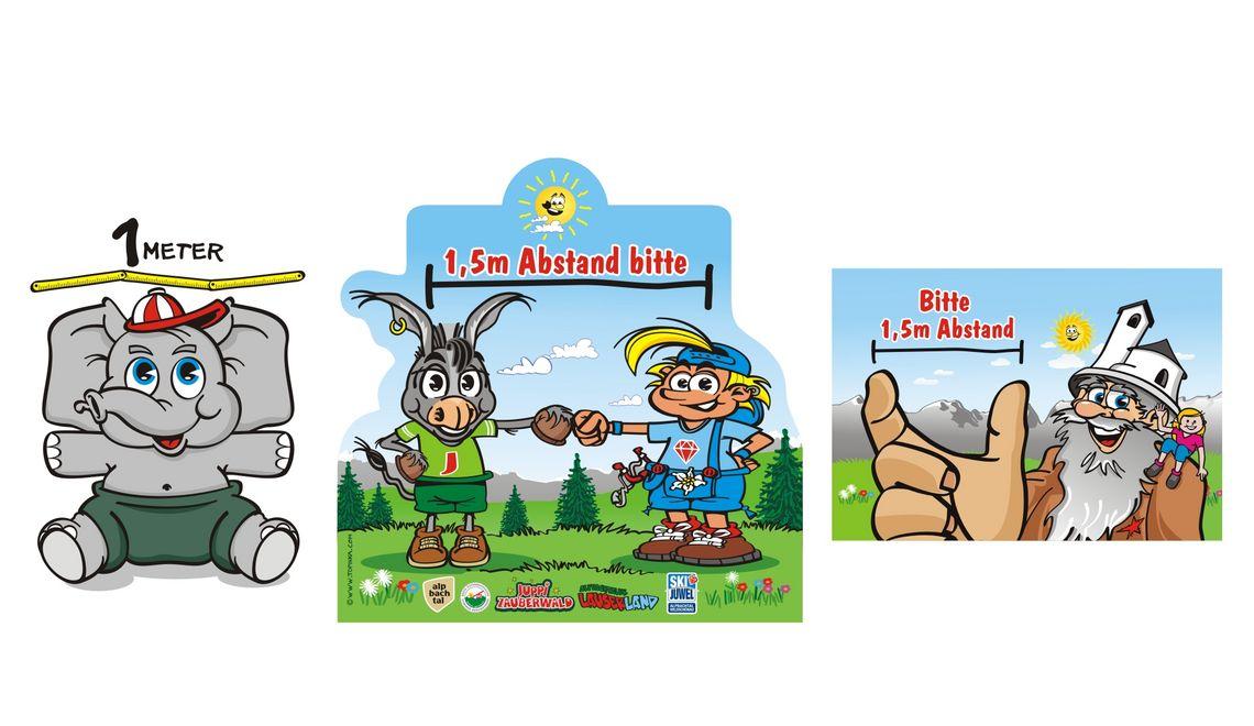 Maskottchen und Illustration für Abstandstafeln Tirol