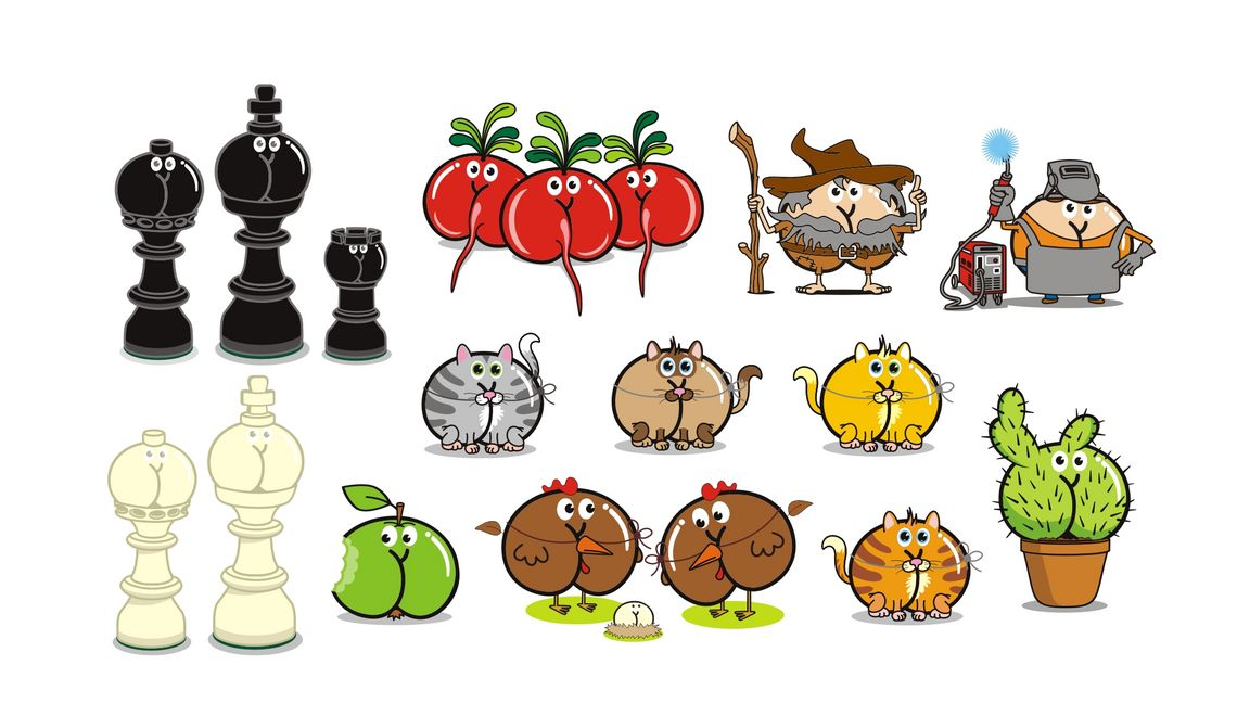 Schachfiguren in weiß und schwarz Radieschen Rübezahl Schweißer Katzen Apple Hühner Kaktus