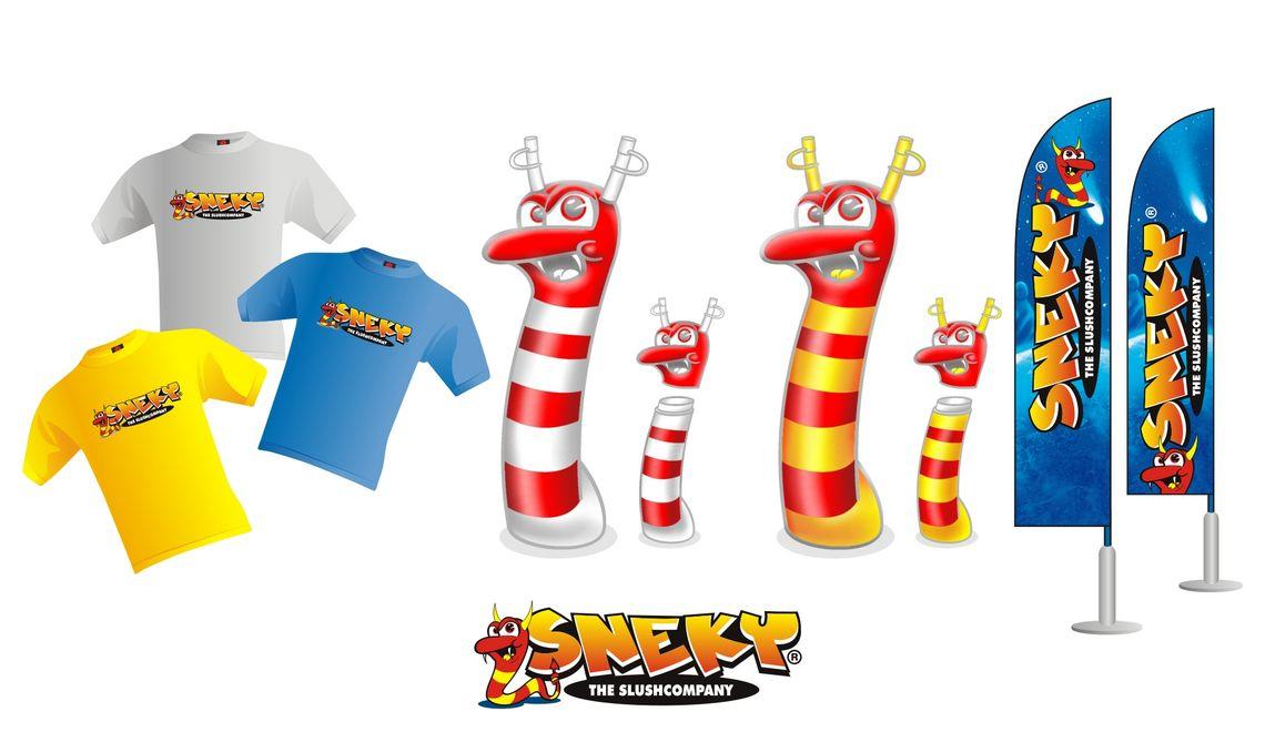Marke Sneky - Corporate Design - Maskottchen und Illustrationen für die Firma Qusotic Germany