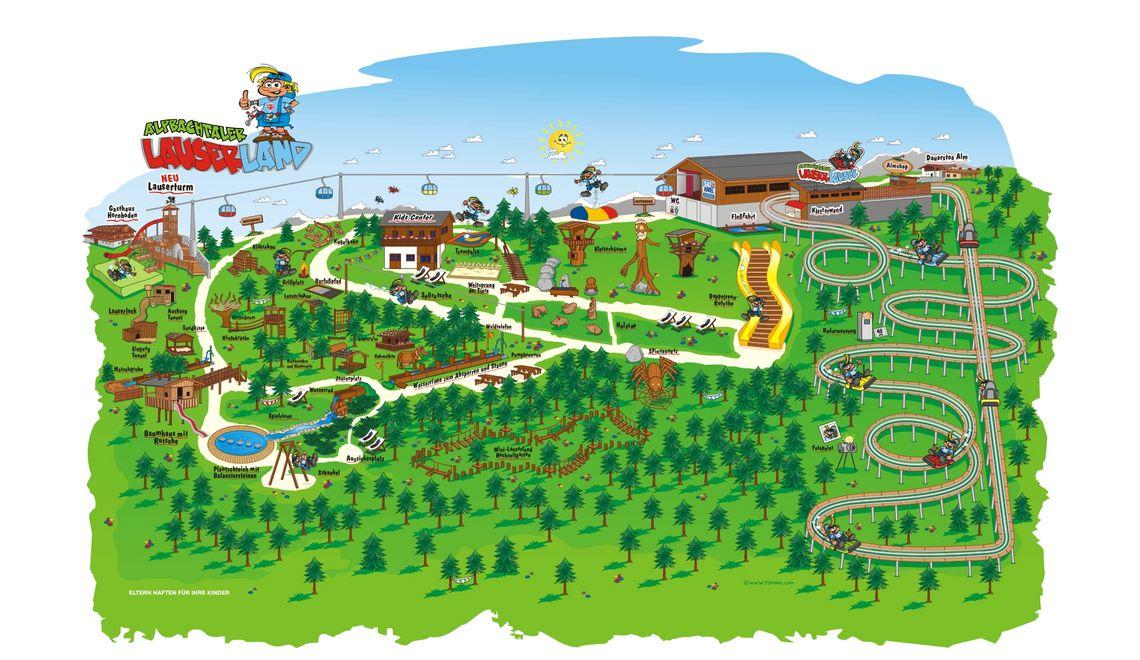 Übersichtsplan, Maskottchen und Illustration für das Lauserland im Alpbachtal