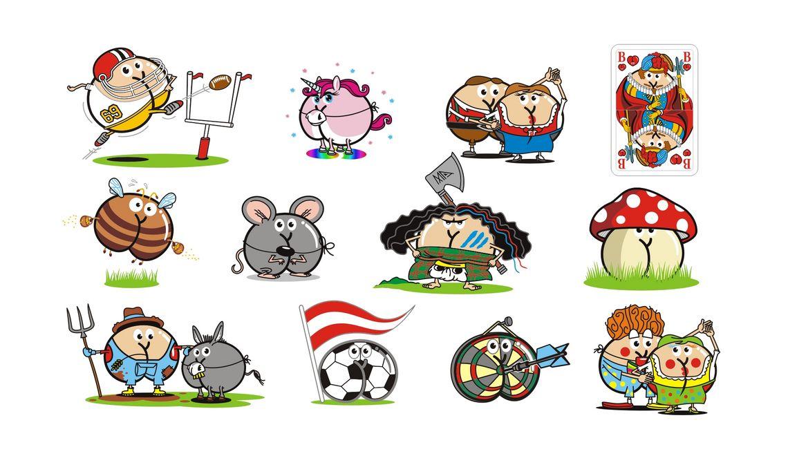 Football-Spieler Einhorn Volkstänzer Spielkarte-Bube Biene Maus Highlander Fliegenpilz Bauer mit Esel Fussball-Austria Dartscheibe Clown-Pärchen