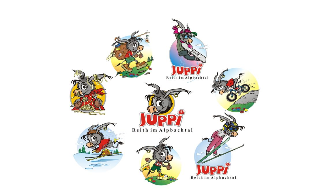 Maskottchen Juppi in verschiedenen Mutationen für TVB Reith im Alpbachtal