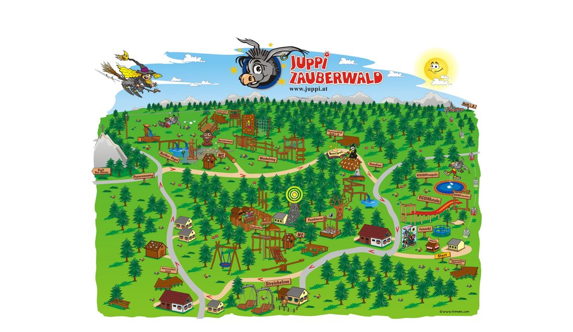 Übersichtsplan als Wimmelbild für Juppis Zauberwald mit Maskottchen Juppi