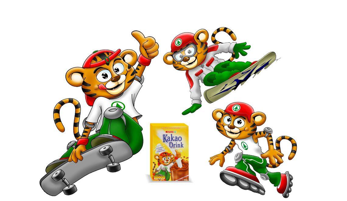 Tiger Illustration Maskottchen für die Spar AG