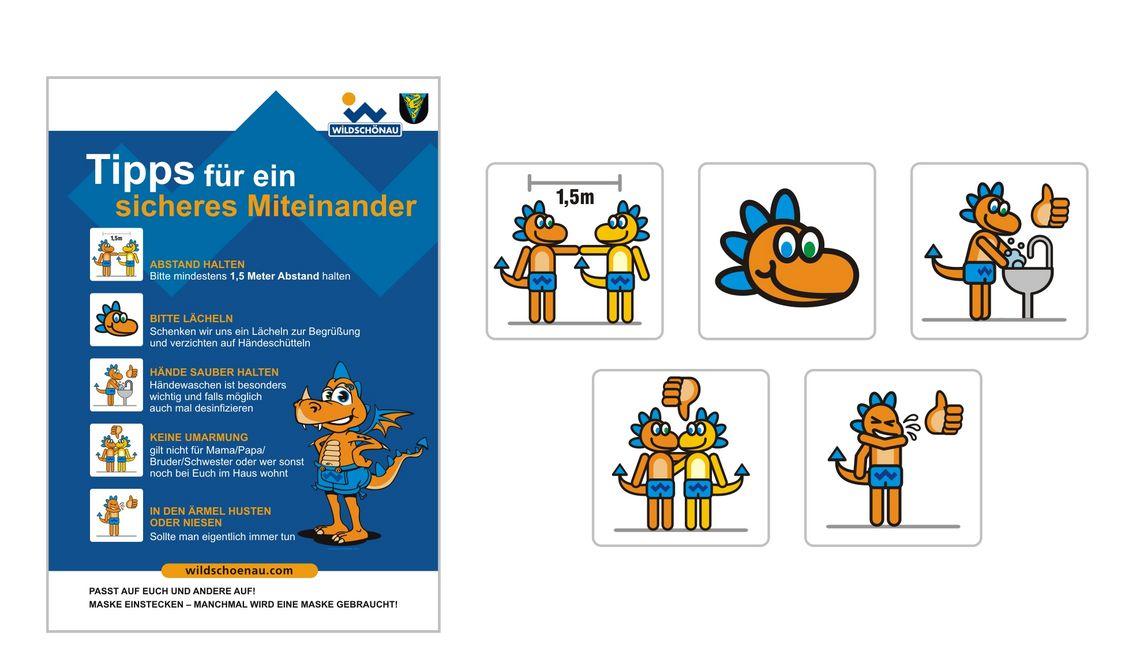 Comicillustration Maskottchen Illustration für Tourismusbüro Wildschönau