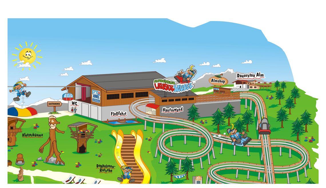 Maskottchen und Illustration Lauserland Bergbahn Alpbachtal Tirol