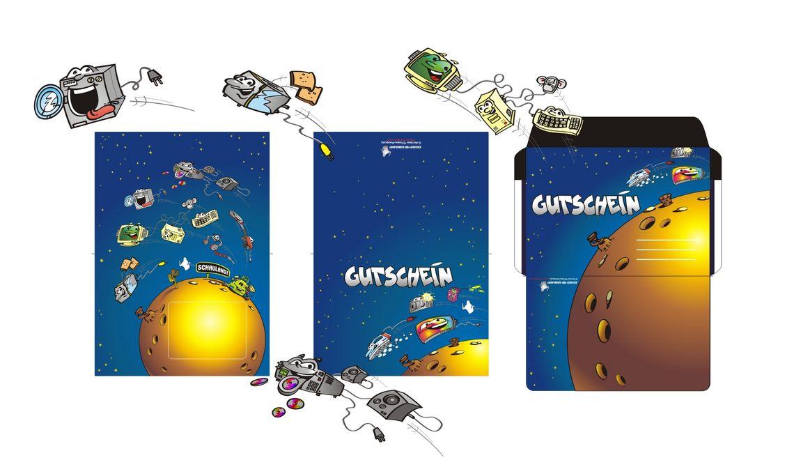 Maskottchen - Illustrationen - Grafik Design und Reinzeichnung für einen Gutschein